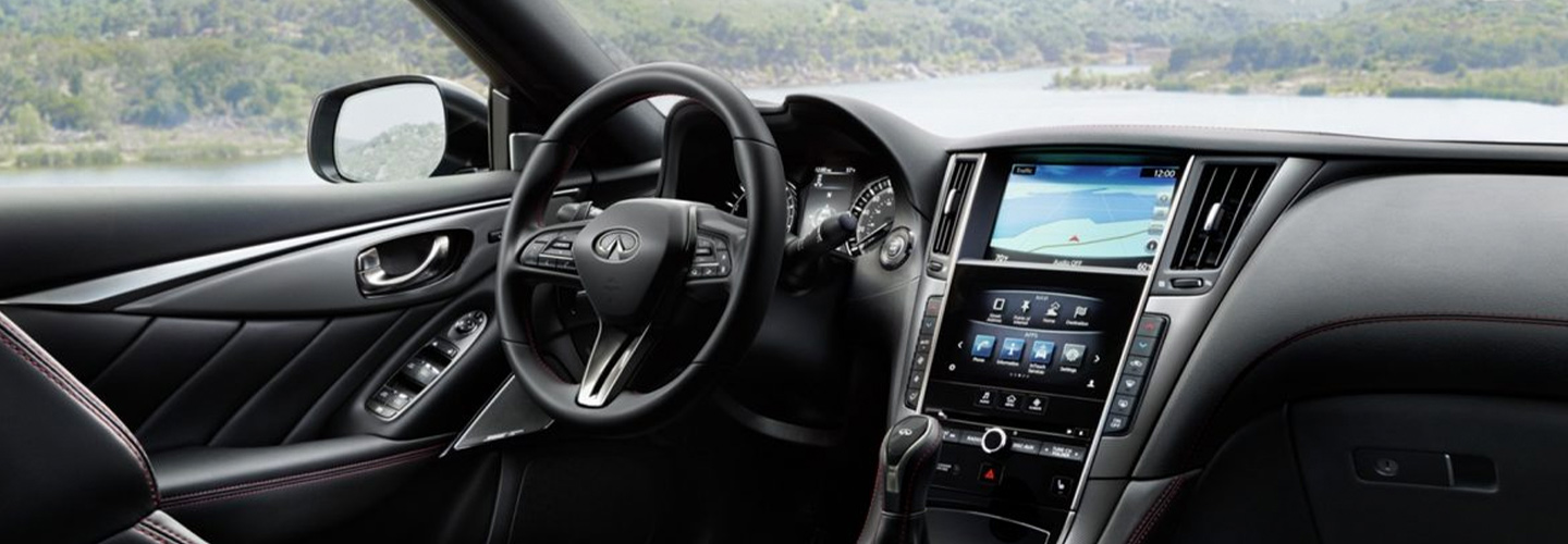Infotainment center of the 2019 INFINITI Q50 in Oklahoma City, OK