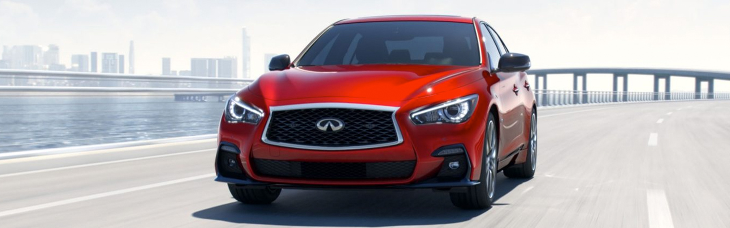 Front of the 2019 INFINITI Q50 in motion in Oklahoma City