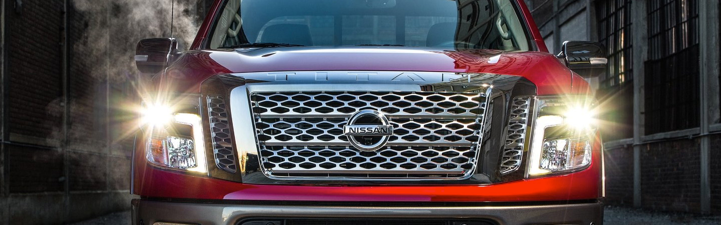 Front headlights of the 2019 Nissan Frontier, available at Bob Moore Nissan