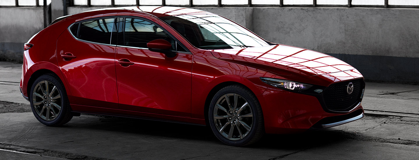 Close up of the 2019 Mazda3 parked inside