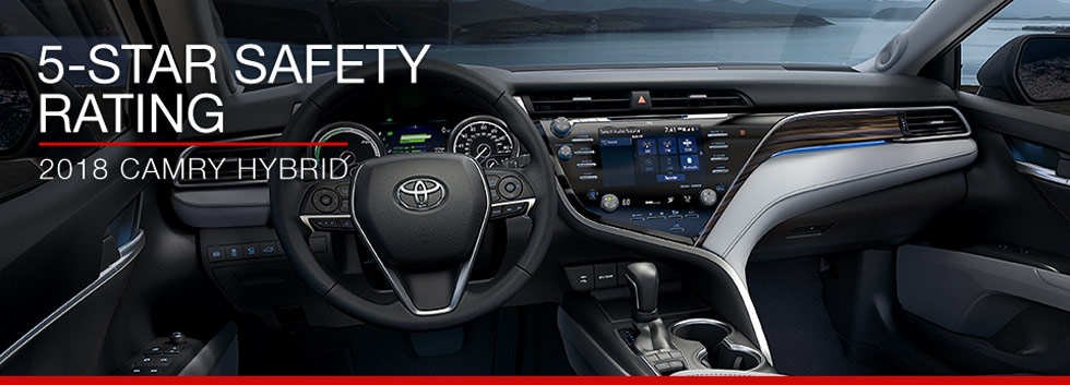 Safety features and interior of the 2018 Toyota Camry Hybrid - available at Toyota of Tampa Bay near Wesley Chapel and Tampa, FL