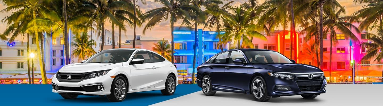 2019 Honda Civic & 2019 Honda Accord in front of Miami Beach