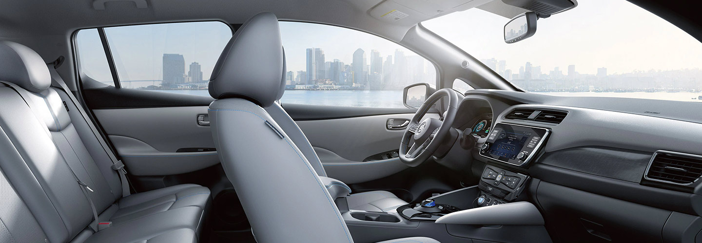 Interior entertainment and technology of the 2019 Nissan Leaf, at Bob Moore Nissan