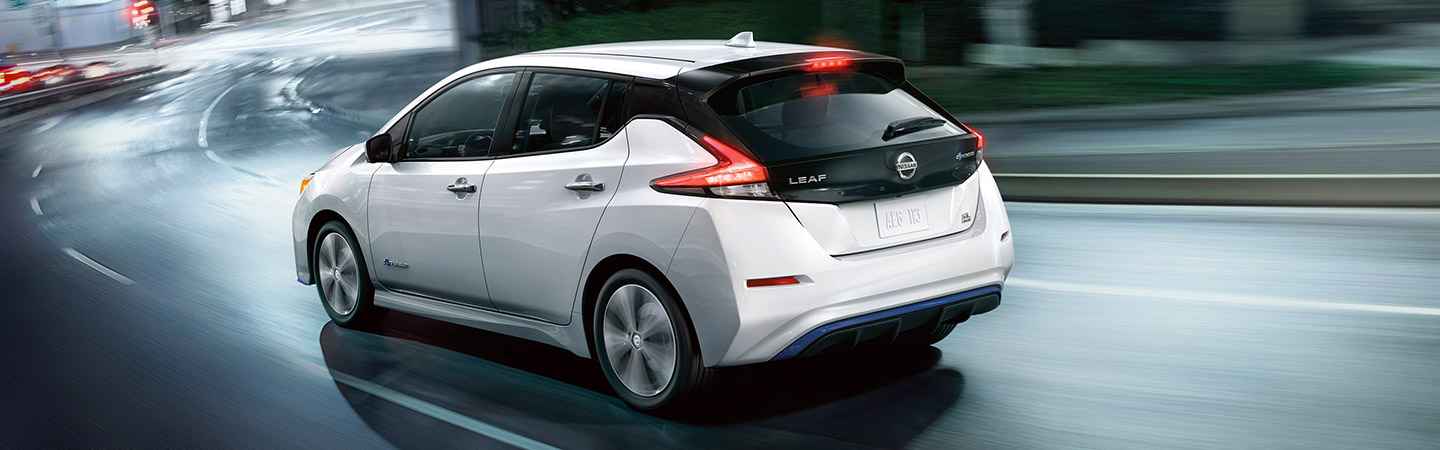 Rear of the 2019 Nissan Leaf in motion, available at Bob Moore Nissan