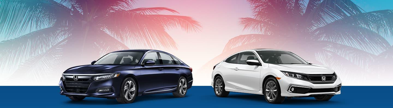 2019 Honda Accord & 2019 Honda Civic with Palm Tree background