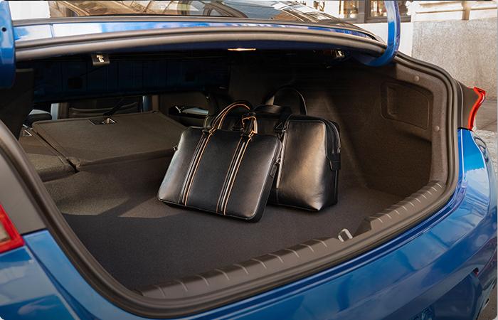 Interior view of the Kia K5's trunk
