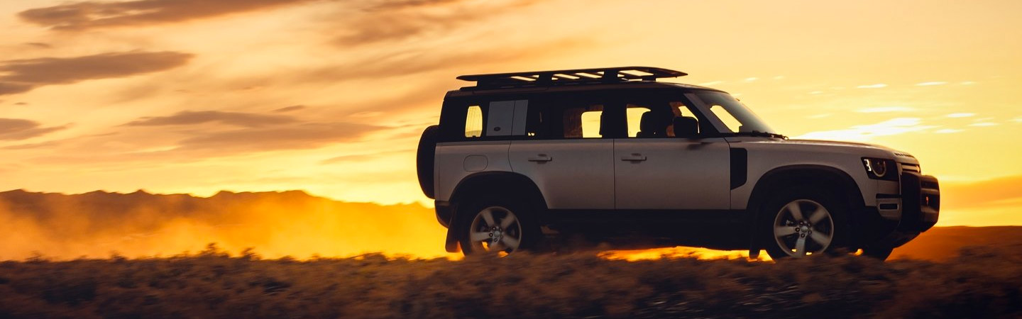 Land Rover Defender during the sunset