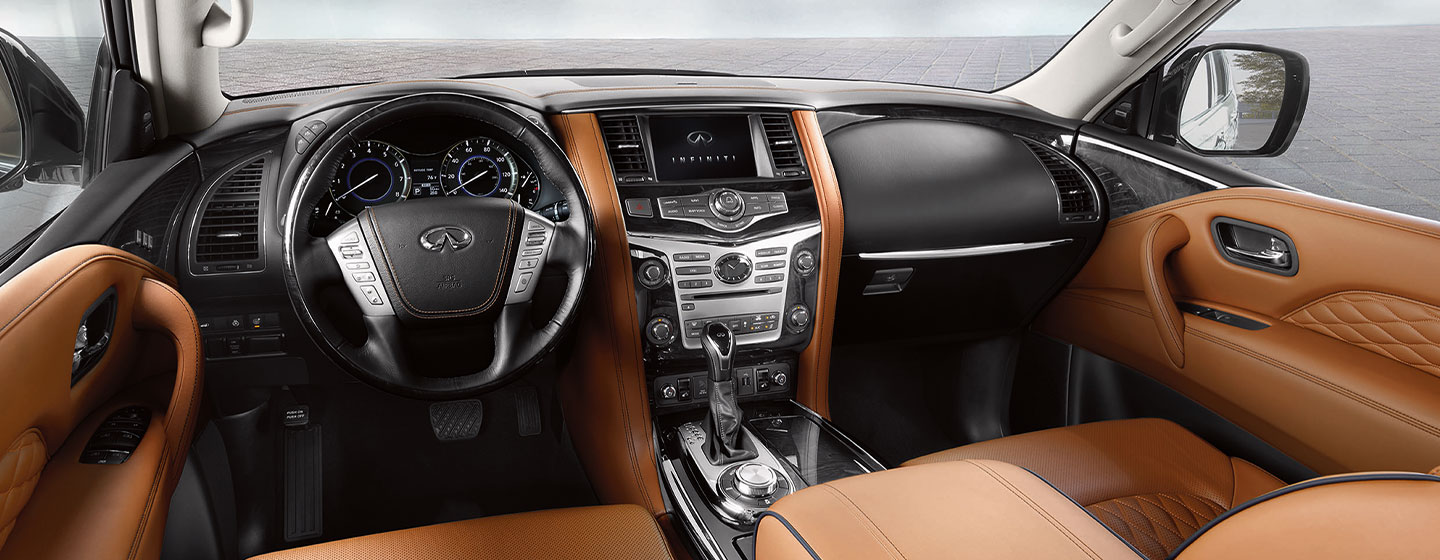 Safety features and interior of the 2019 INFINITI QX80- available at our INFINITI dealership in Oklahoma City, OK
