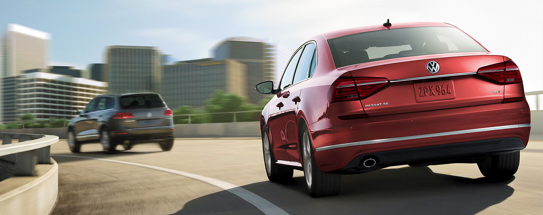 Back of the 2018 Volkswagen Passat in motion