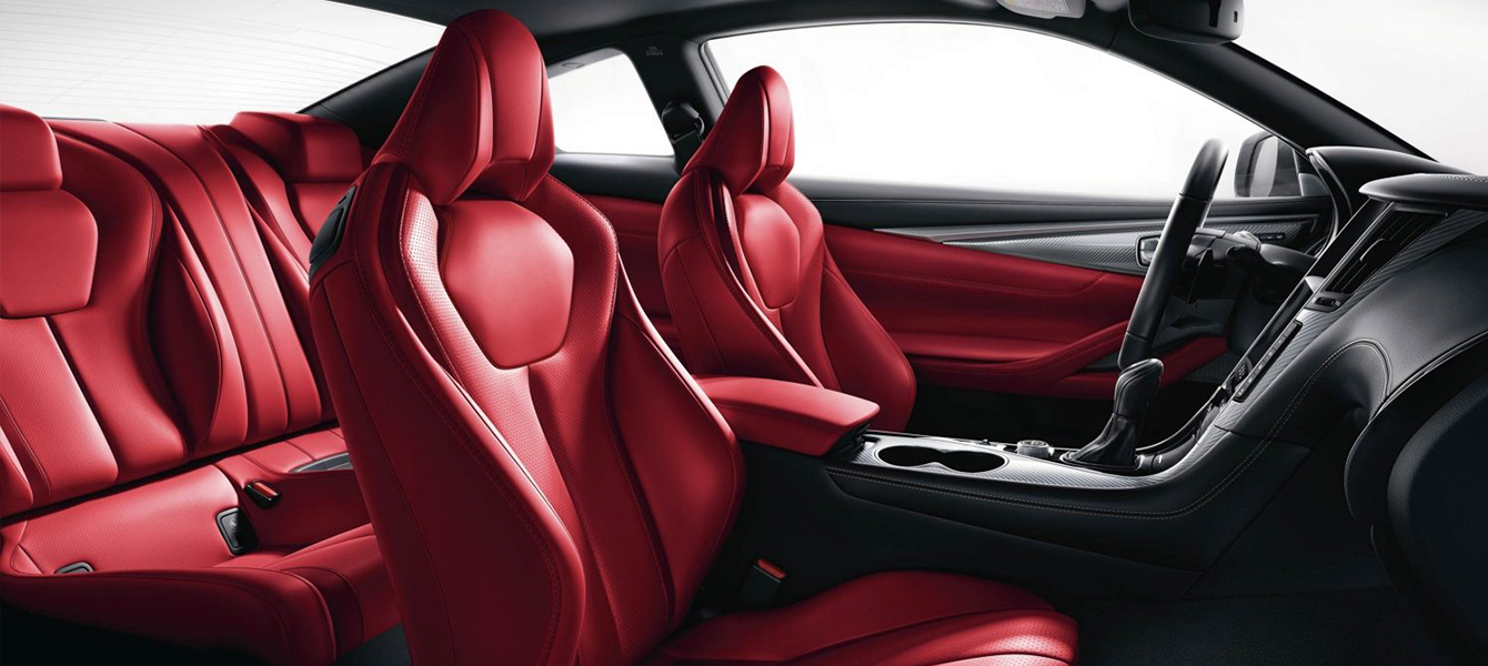 Safety features and interior of the 2018 INFINITI Q60 - available at South Motors INFINITI in Miami, FL