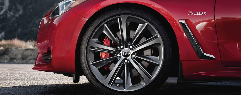 Front left wheel of the 2018 INFINITI Q60