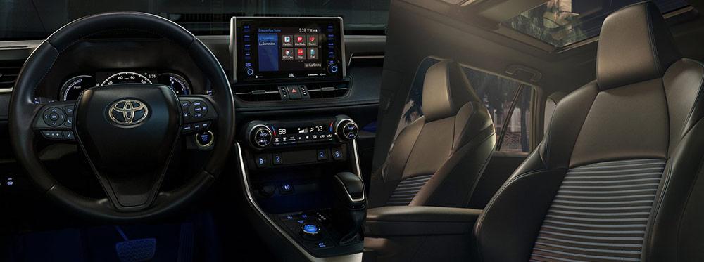 Safety features and interior of the 2019 RAV4 - available at Rivertown Toyota near LaGrange and Opelika-Auburn