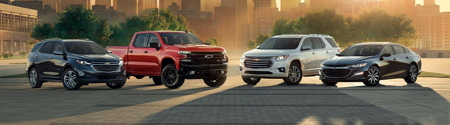 A line up of Chevy models available at Spitzer Chevy Amherst.