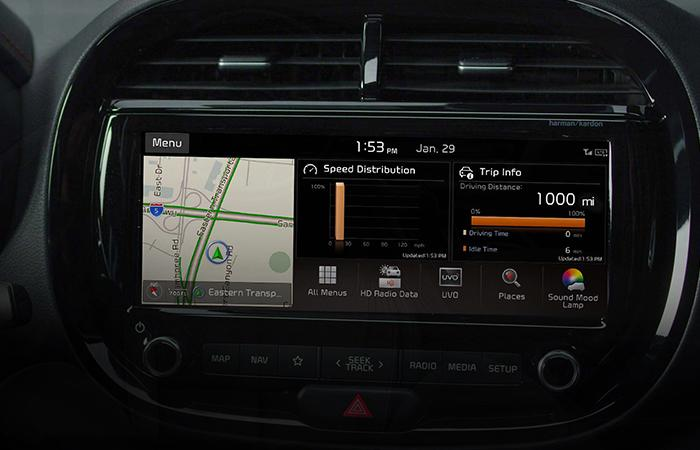 Close up view of the 2021 Kia soul's infotainment system