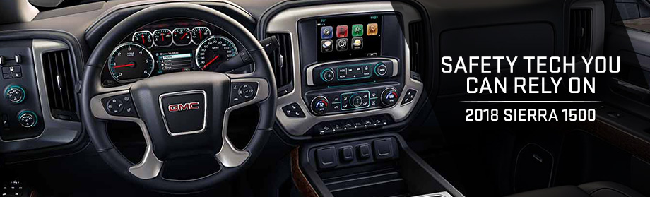 Safety features and interior of the 2018 Sierra 1500 - available at Rivertown Buick GMC near Opelika-Auburn and LaGrange