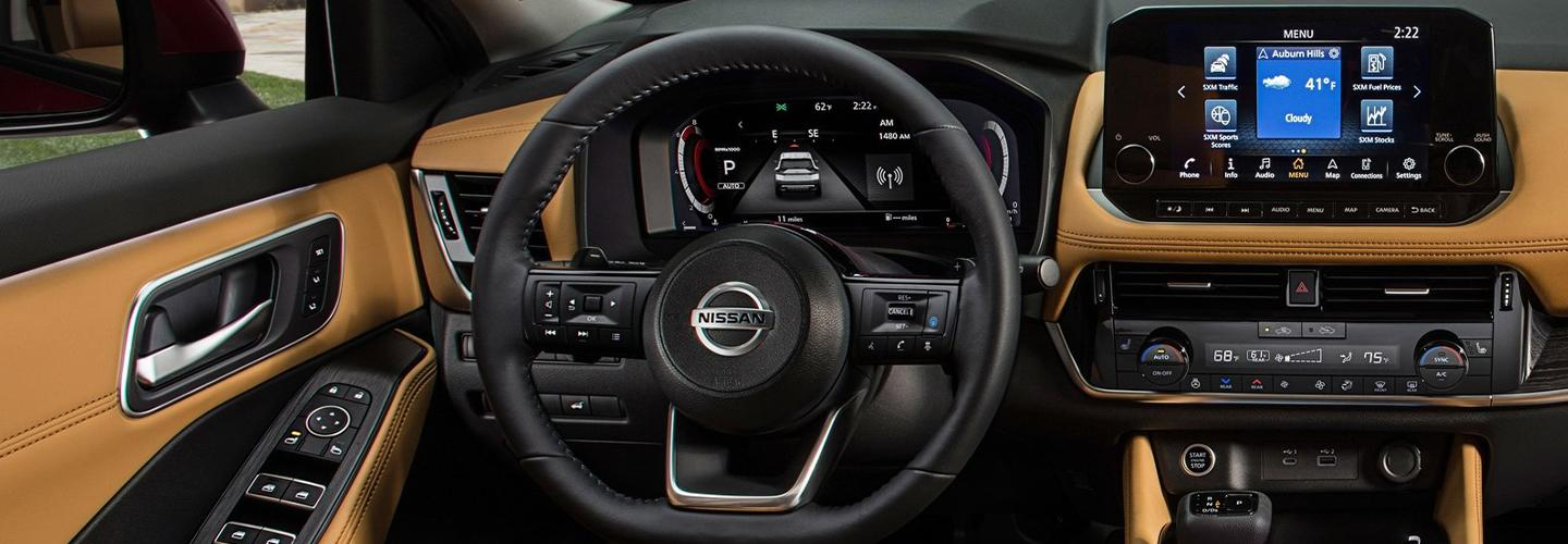 Interior steering wheel and infotainment view