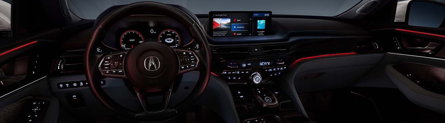 Close up view of the interior of the 2022 Acura MDX