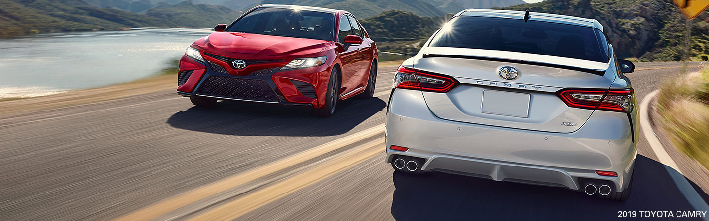 Exterior of the 2019 Toyota Camry available at our car dealership in Atlanta