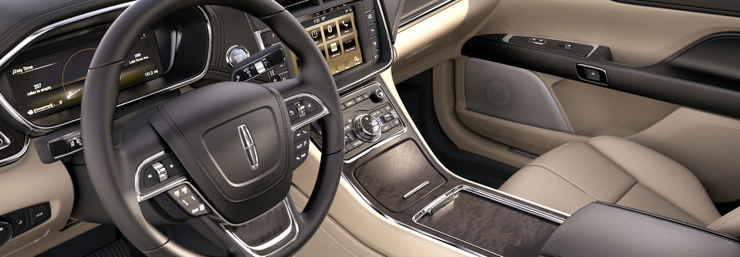 Drivers side view of the interior of the 2019 Lincoln Continental at Wilkes-Barre, PA