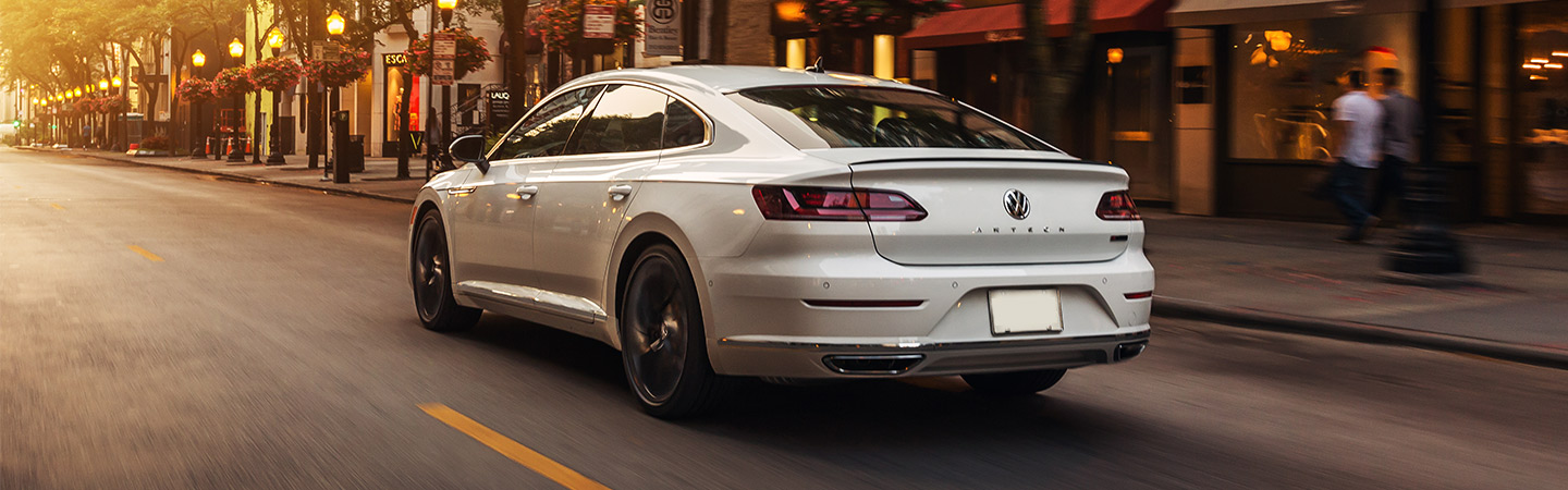 2019 Volkswagen Arteon - Silver - Rear View - Driving on the road