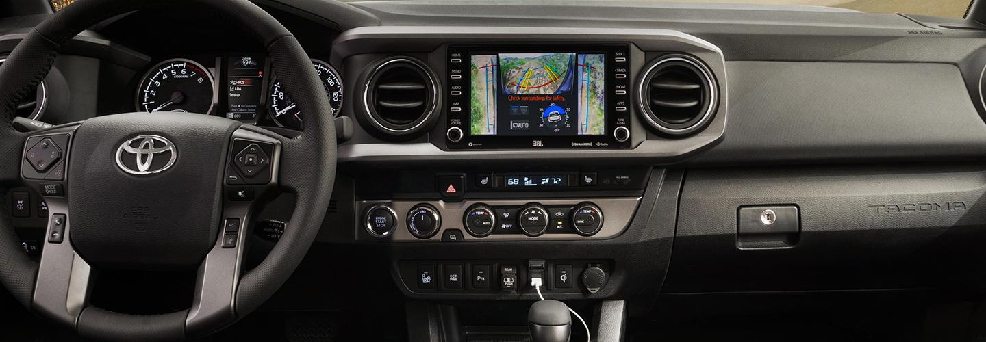 Interior image of the 2020 Toyota Tacoma for sale at Spitzer Toyota in Monroeville PA.