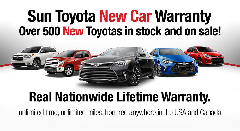 Sun Toyota New Car Warranty, Real Nationwide Lifetime Warranty