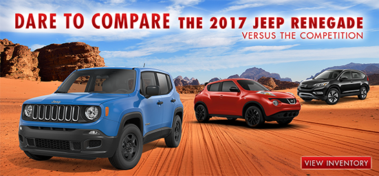Compare the 2017 Jeep Renegade to Nissan Juke and the Honda HR-V, Southern Chrysler Jeep Greenbrier, Chesapeake, VA