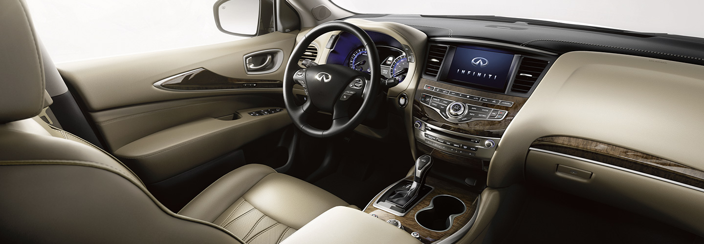 Interior of the 2020 INFINITI QX60 and entertainment console, available at our Oklahoma City dealership.