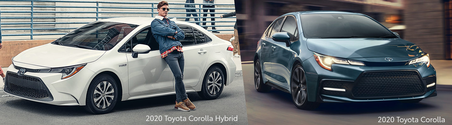 Exterior of the 2020 Toyota Corolla and the 2020 Toyota Corolla Hybrid