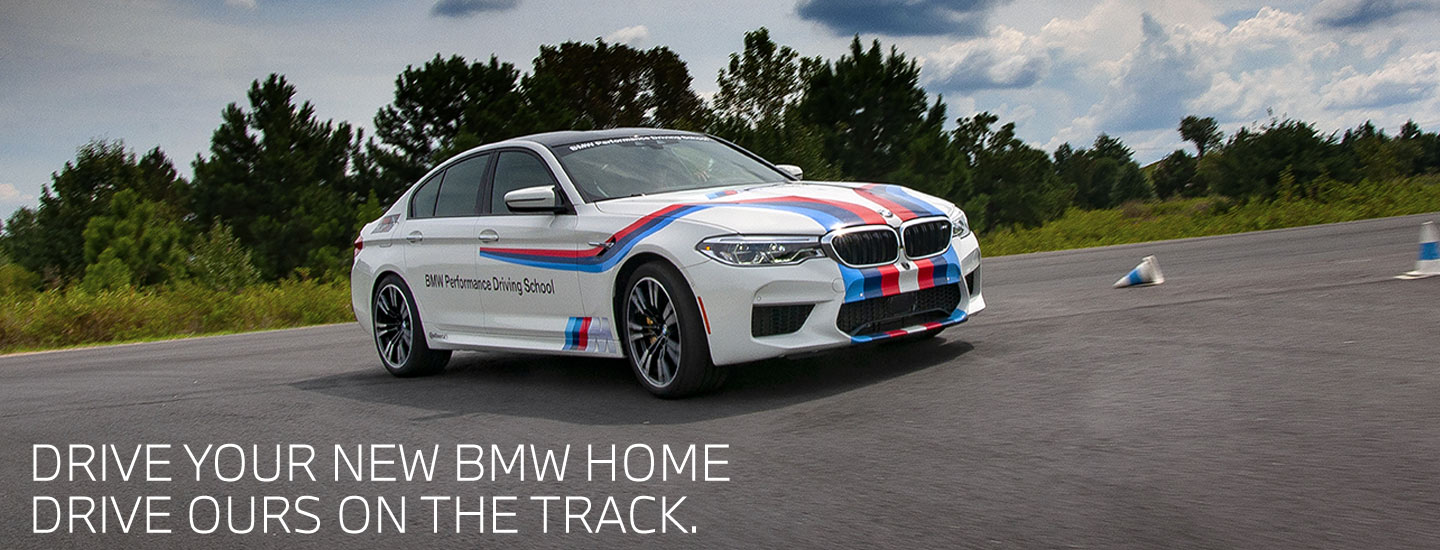BMW Driving school car in motion on track