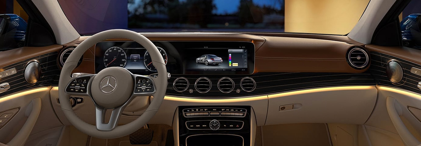 Interior view of the entertainment and safety features of the 2019 Mercedes-Benz E-Class