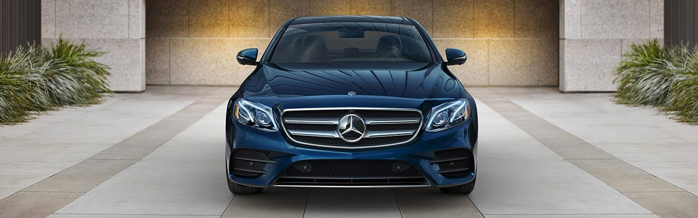 Front profile of the 2019 Mercedes-Benz E-Class parked available in Gainesville, FL