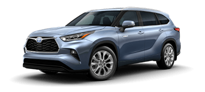 light blue 2021 Toyota Highlander Hybrid Limited