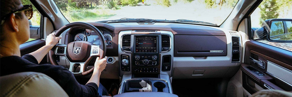Safety features and interior of the 2018 RAM 1500 - available at Naples Chrysler Dodge Jeep Ram near Bonita Springs and Cape Coral, FL