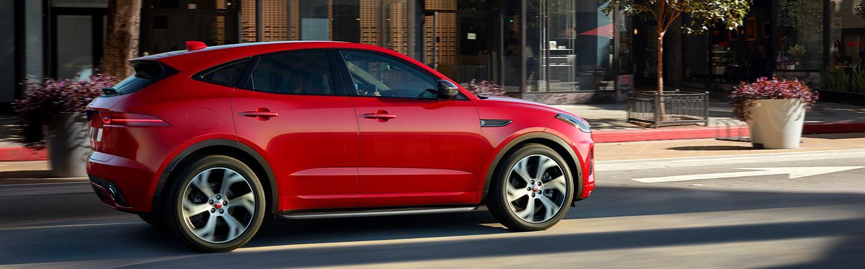 Jaguar E-Pace exterior side view in city