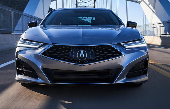 Front view of the 2021 Acura TLX in motion