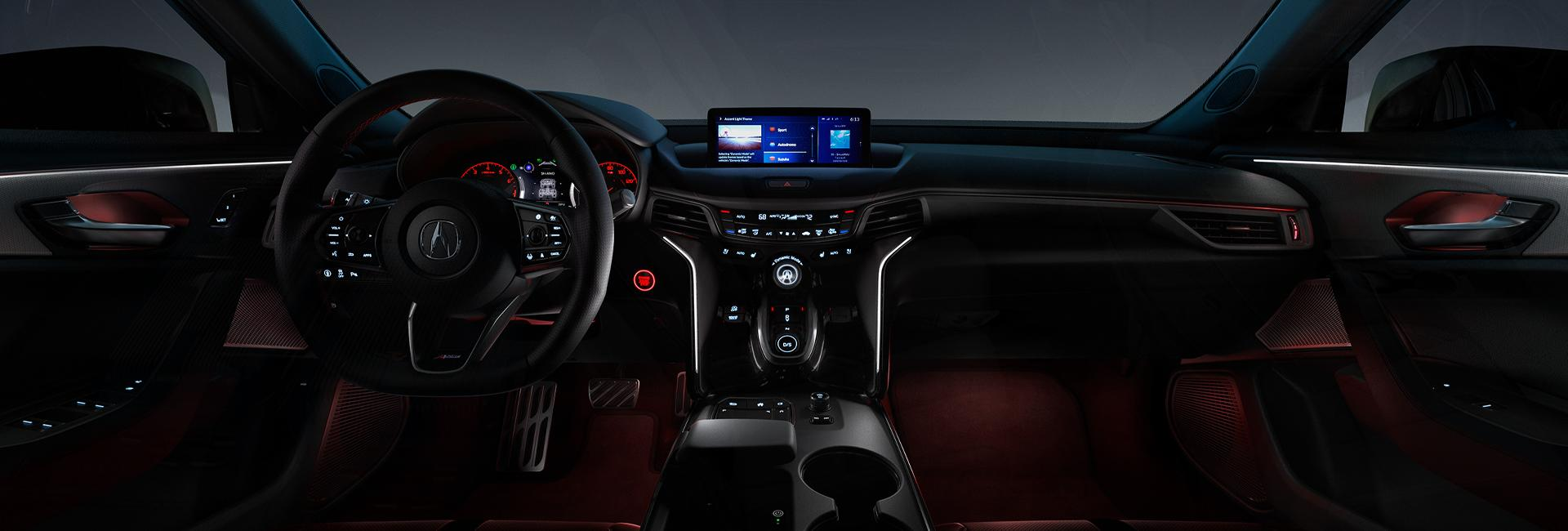 Interior dash and infotainment system of the Acura TLX