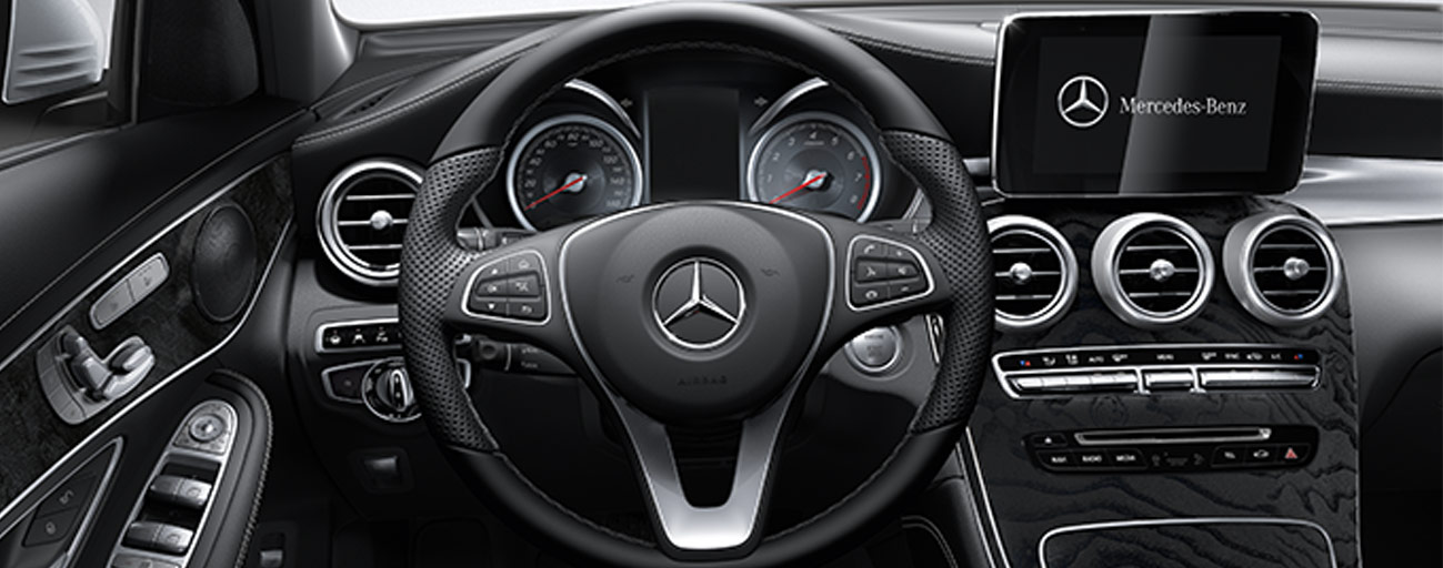 Safety features and interior of the 2018 Mercedes-Benz GLC 300 available at our Mercedes-Benz dealership near Gainesville, FL.
