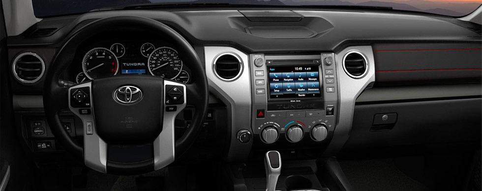 2019 Toyota Tundra TRD Pro Interior - Dash, Entertainment, and Steering Wheel.