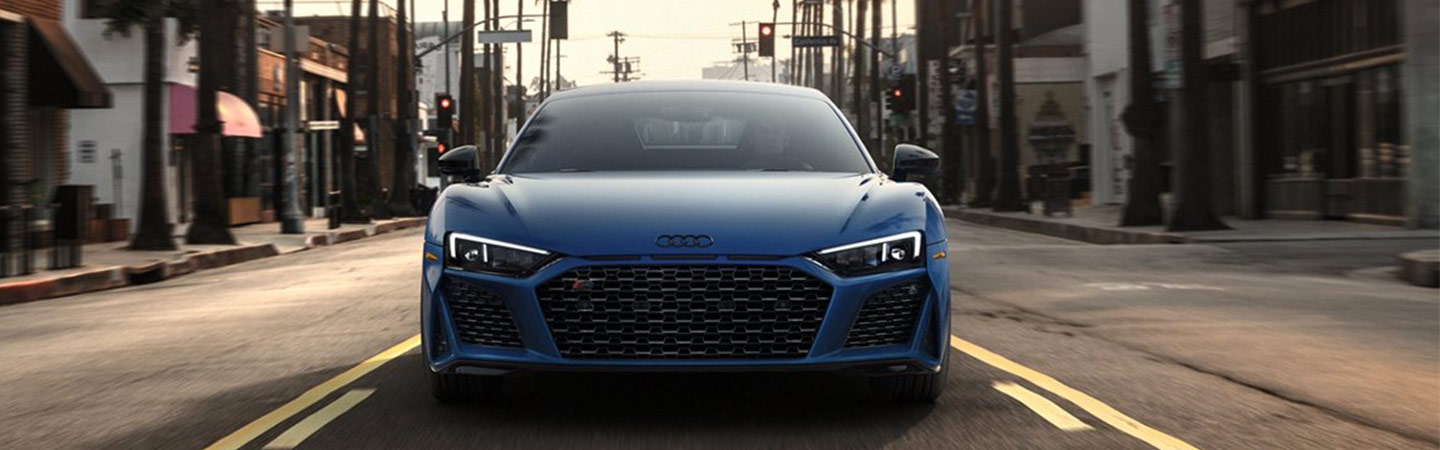 Front view of a blue Audi R8
