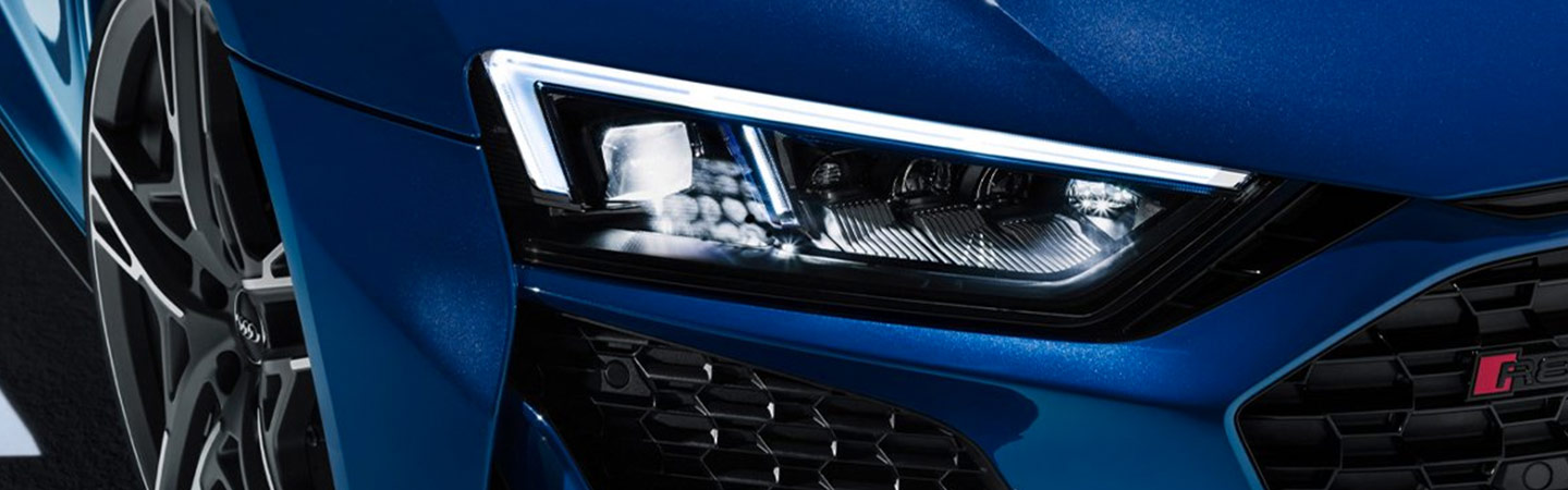 Headlight close up of an Audi R8