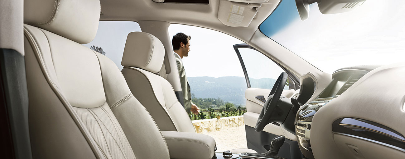 Safety features and interior of the 2019 INFINITI QX60 - available at our INFINITI dealership in Oklahoma City, OK.