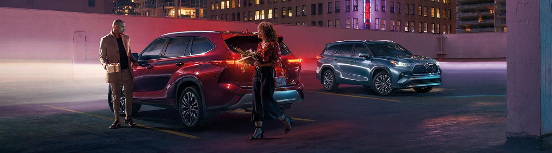 2020 Toyota Highlander Hybrid vehicles parked in a parking lot
