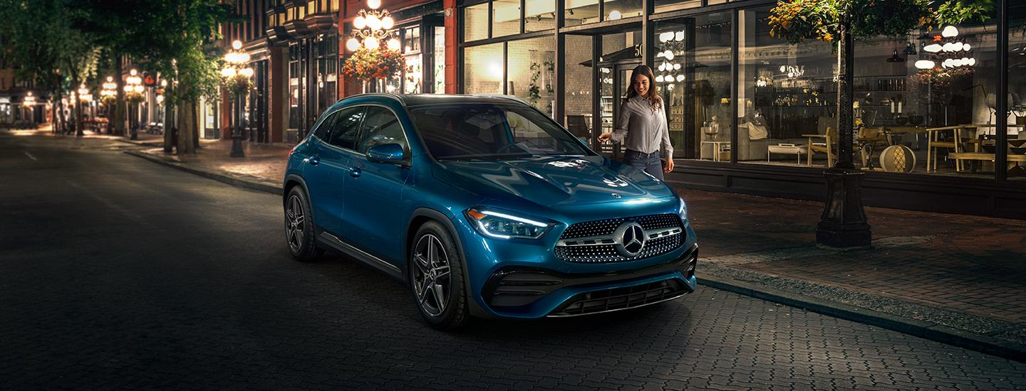 2021 Mercedes-Benz GLA parked on a city street at night