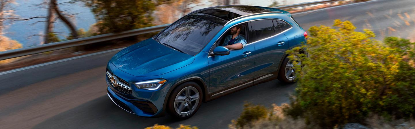 Aerial view of the 2021 Mercedes-Benz GLA in motion