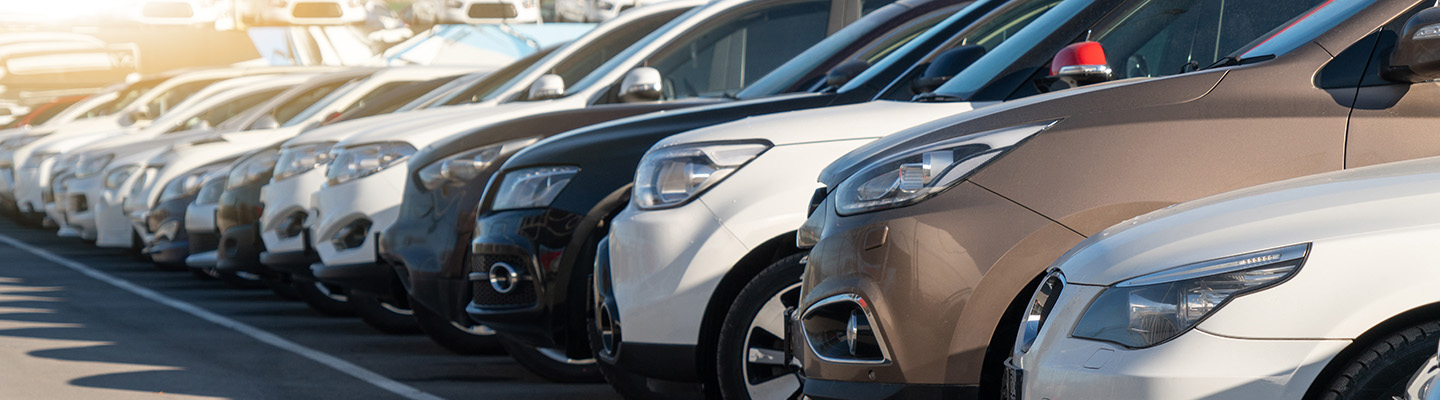 close up of used cars parked in a lot at I-75 auto
