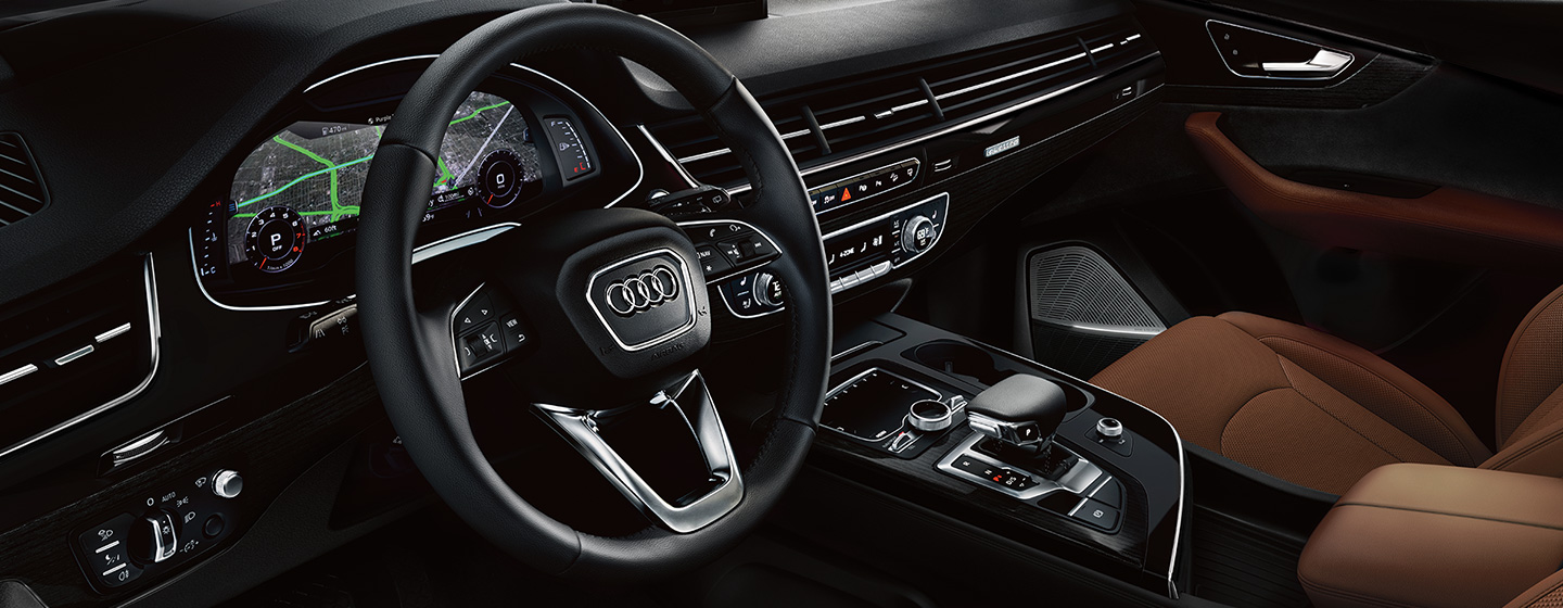 Safety features and interior of the 2019 Audi Q7 - available at our Audi dealership in Oklahoma City, OK