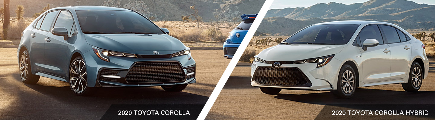 Exterior of the 2020 Toyota Corolla and the 2020 Toyota Corolla Hybrid available at Toyota of Rock Hill