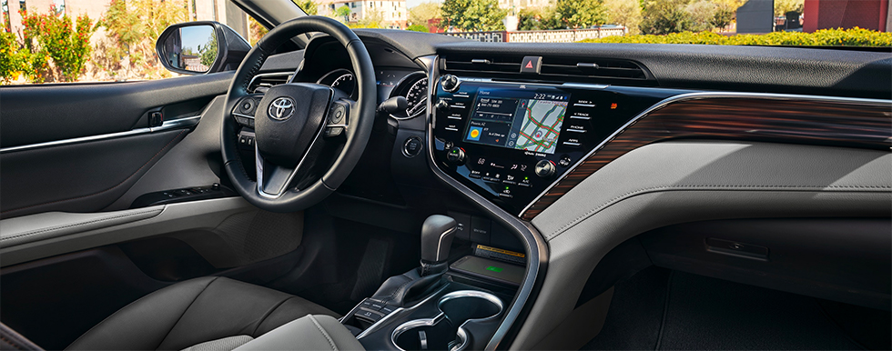 Safety features and interior of the 2019 Toyota Camry, available at our Toyota dealership near Charlotte, NC.