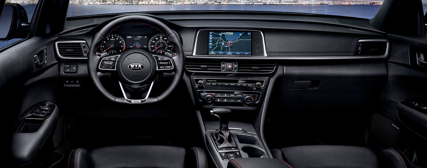 Safety features and interior of the 2019 Kia Optima - available at our Kia dealership in Oklahoma City, OK
